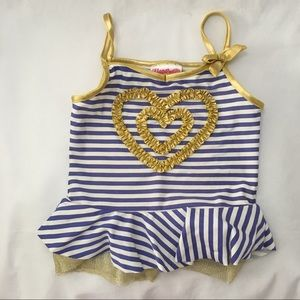 Flapdoodles Blue Gold Striped Ruffled Tankini Top